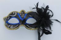 Blue & Gold Flower Mask